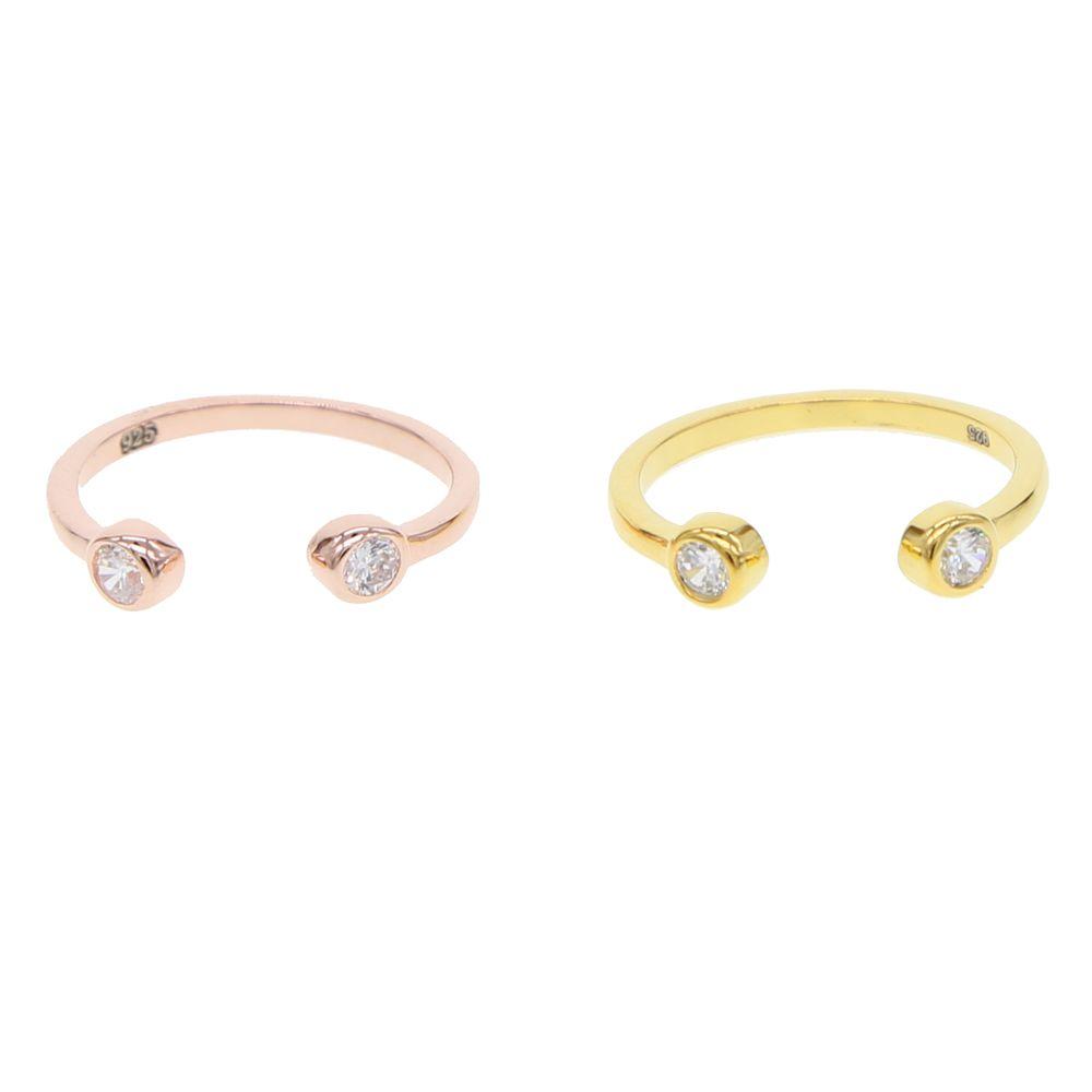 двойной стороне cz кольца для женщин минимальные крошечные ювелирные изделия стерлингового серебра 925 золотой цвет простое кольцо регулируемая midi кулака кольцо