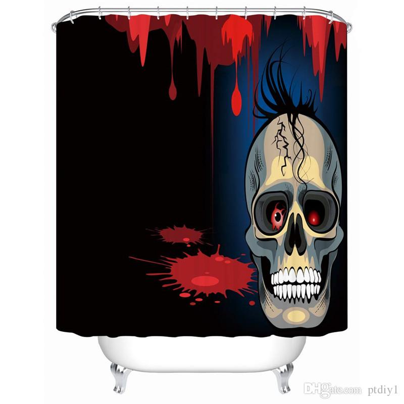 DIY Unique Modern Cartoon Design Skull Shower Curtain for Halloween Decoration with Black Hair and A Mysterious Smile is So Terrifying