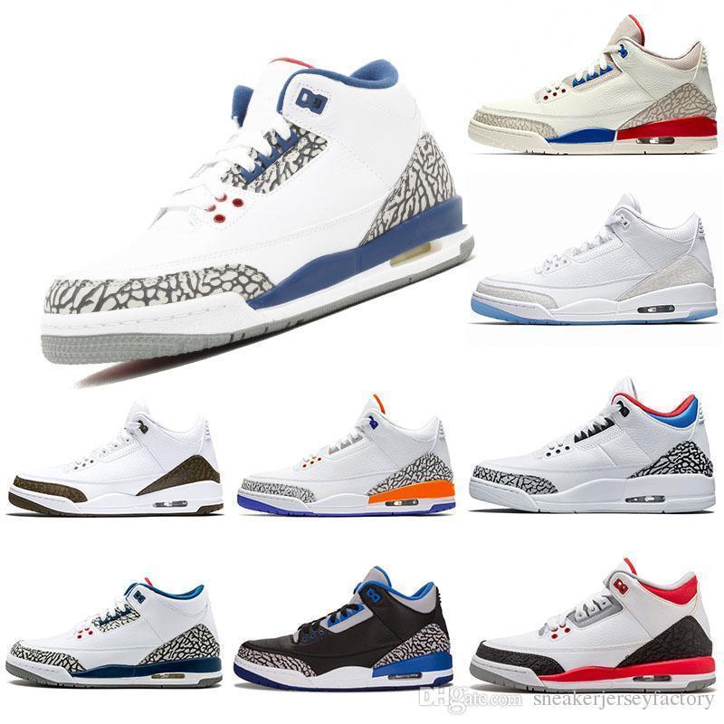 Formadores mens designer de basquete sapatos 3s Knicks Rivais Mocha Katrina Tinker JTH NRG Cimento Preto Coréia Pure White Sport Sneaker 40-47