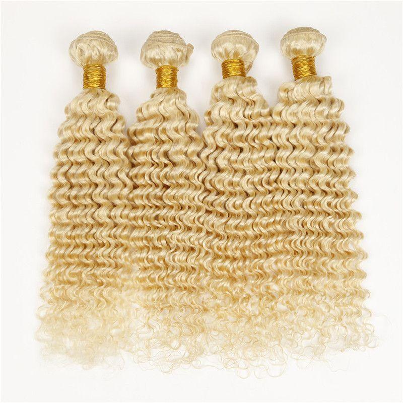 Modische 4pcs unverarbeitetes Menschenhaar tiefe Welle lockige Doppelmaschine Schuss jungfräuliche peruanische brasilianische blonde Bündel 613 locken das Haar
