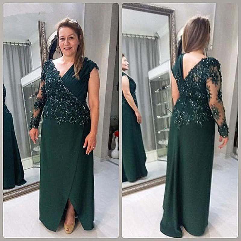 Elegante Satin A-Linie Mutter der Braut-Kleider mit langen Ärmeln wulstigen Spitze-Fußboden-Längen-Mutter Abendkleid Hochzeit Abendkleider