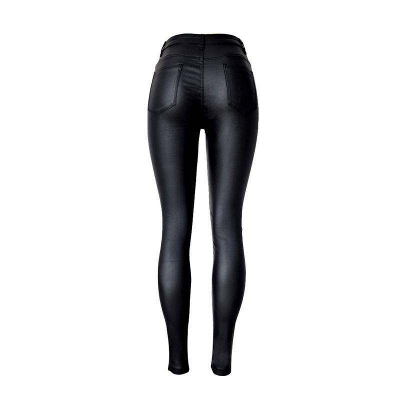2019 Art und Weise Frauen-Jeans, passend hohe Taillen-dünne dünne Frau Jeans, Kunstleder Jeans, Stretch Weibliche Jeans, Bleistifthosen-C1075 Y200417