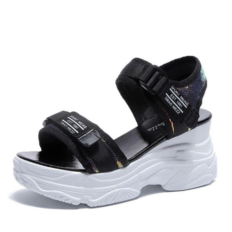 inferior en cuña zapatos de verano 2020 de las mujeres de tacón alto de las sandalias de las mujeres con los zapatos femeninos gruesa plataforma de la punta abierta aumento de las mujeres