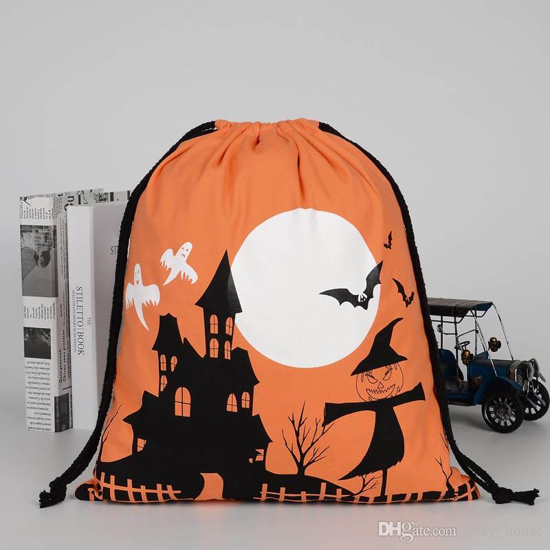 Tratar con asas de Halloween Candy Bag regalo saco o un truco bolsas de lona impresa calabaza fiesta de Navidad de Todos los Santos Festival de regalo