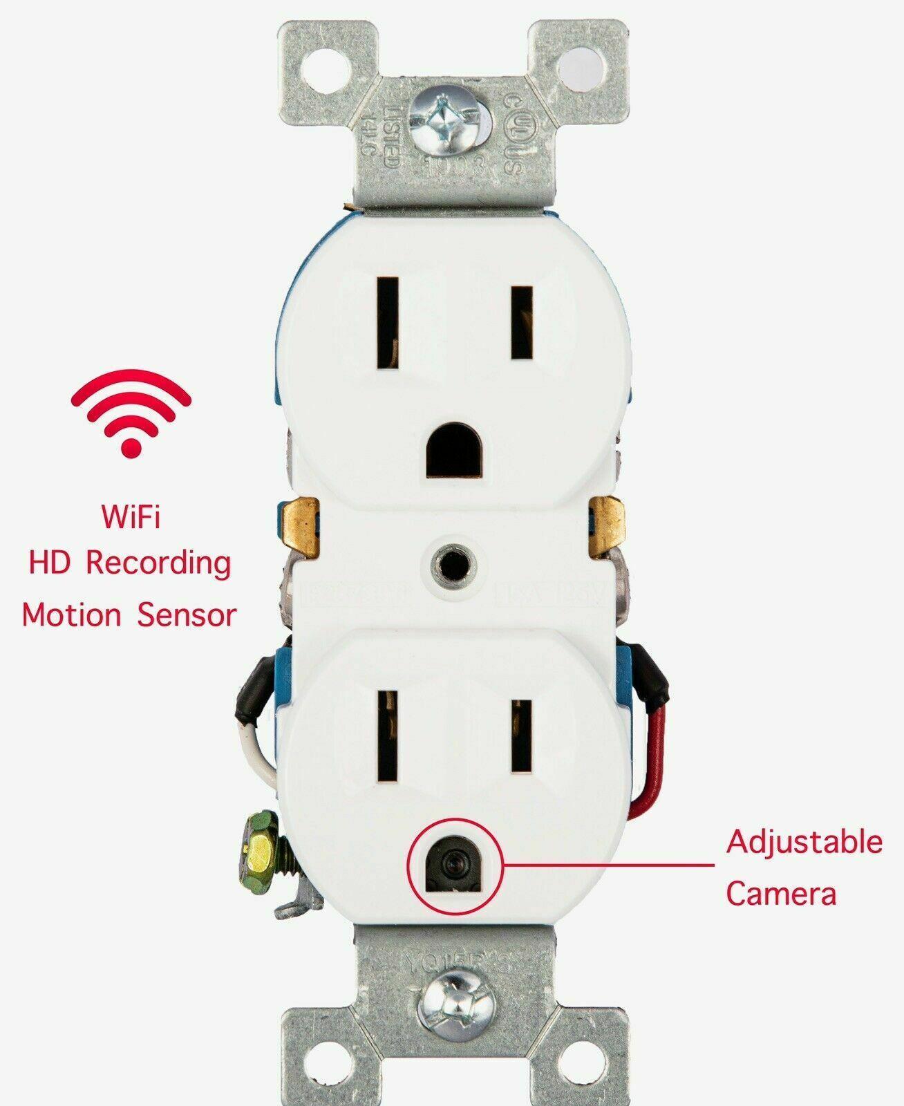 2020 NOUVEAU Socket mural AC chaud 1080P Caméra de surveillance vidéo sans fil Full HD, enregistreur vocal et vidéo