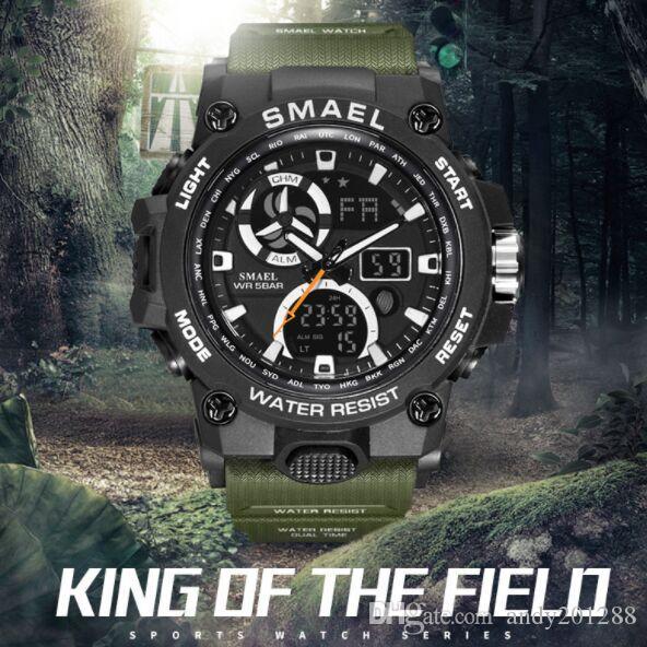 Smael Brand New 8011 Montres de sport pour hommes luxe 12/24 Heure Horloge étanche Dual Time Quartz numérique militaire homme Montre