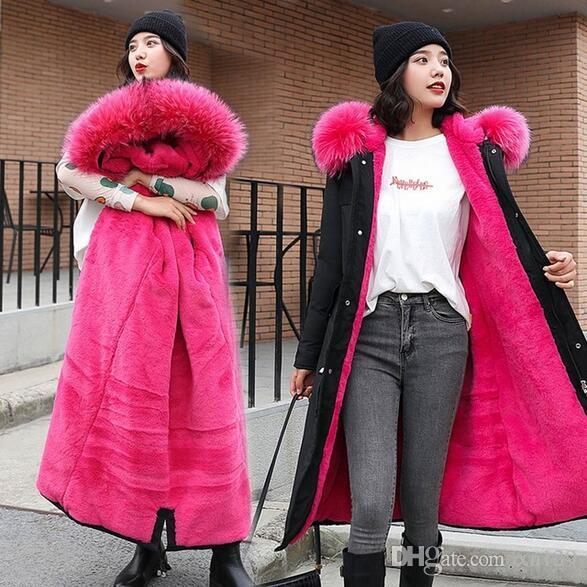 2019 snow long parka winter coat women fur hoodie lining thick winter coat