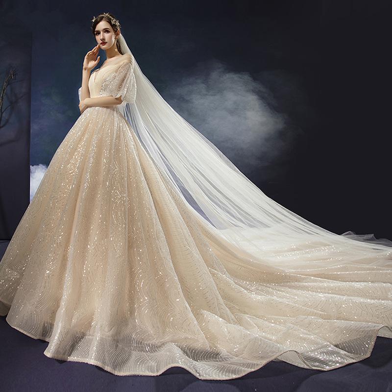 2020 새로운 럭셔리 섹시한 V-목선 웨딩 드레스 높은 허리 긴 스윕 기차 임신 한 여성 신부 가운 BLN008