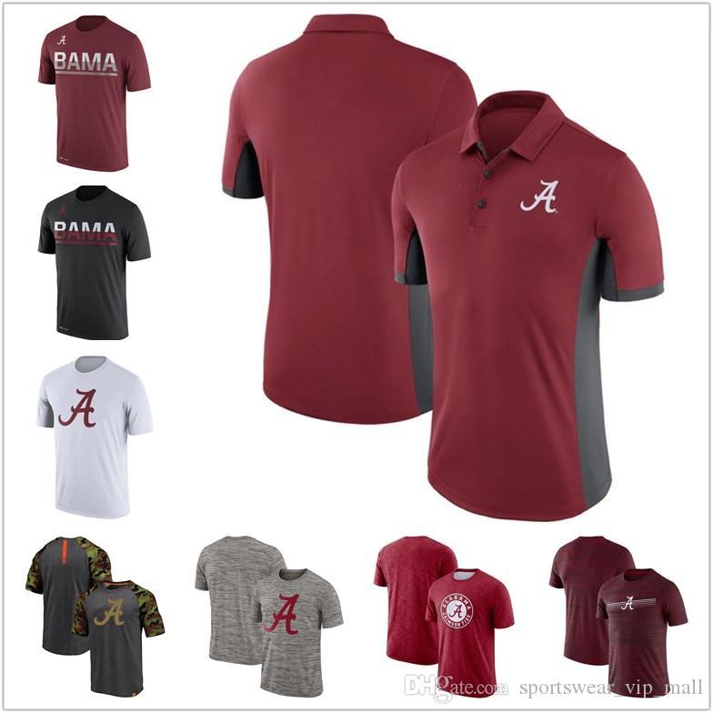 قمصان رجالي NCAA قمصان البولو ألاباما قرمزي المد والجزر في الهواء الطلق أحمر أسود رمادي سفر رياضة السرعة أسطورة الأداء تي شيرت