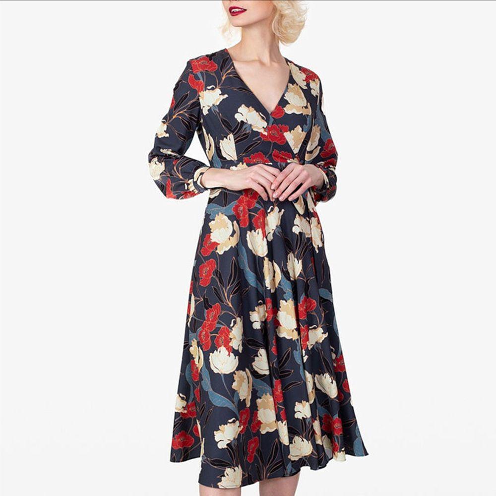 Французский платье 2020 женщины напечатано V-образный вырез девять процентов рукава платье