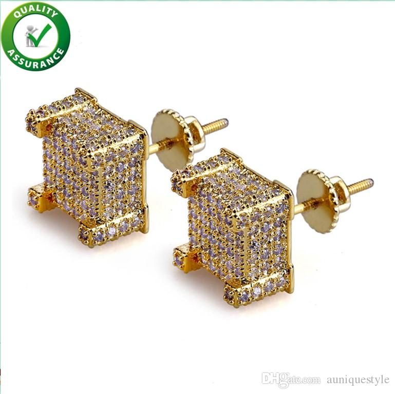Men Designer Earrings Hip Hop Jewelry Bling Diamond CZ Square Cube Sparking Screwback Gold Silver Iced Out Cubic Zirconia Stud Earring