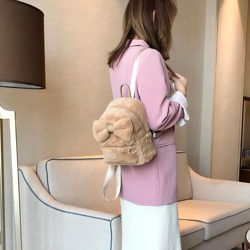 Плечо новый зимний рюкзак меховой дизайн мини дизайнер-роскошь девушки сплошной мочевая искусственная сумка женщины путешествия rucksack bowknot feminina z dmrd