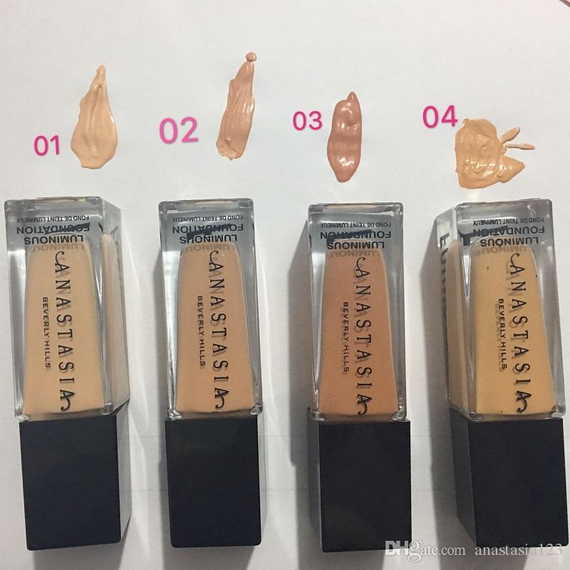 2019 العلامة التجارية maquiagem 4 ألوان الأساس الأساس ماكياج تمييز المخفي الأساس متوسطة تغطية السائل DHL الشحن المجاني