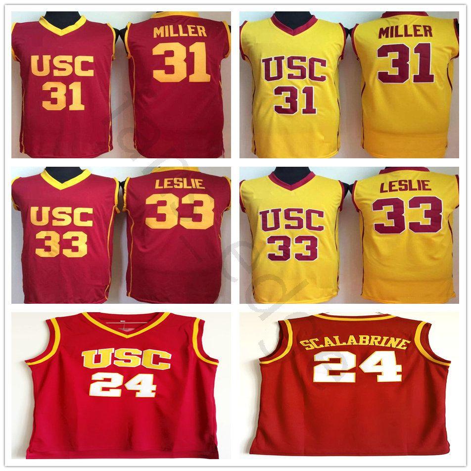 NCAA USC Trojans # 24 Brian Scalabrine College Basketball Jerseys 31 Cheryl Miller 33 Lisa Leslie Red Yellow University Stitched Jersey Camisa