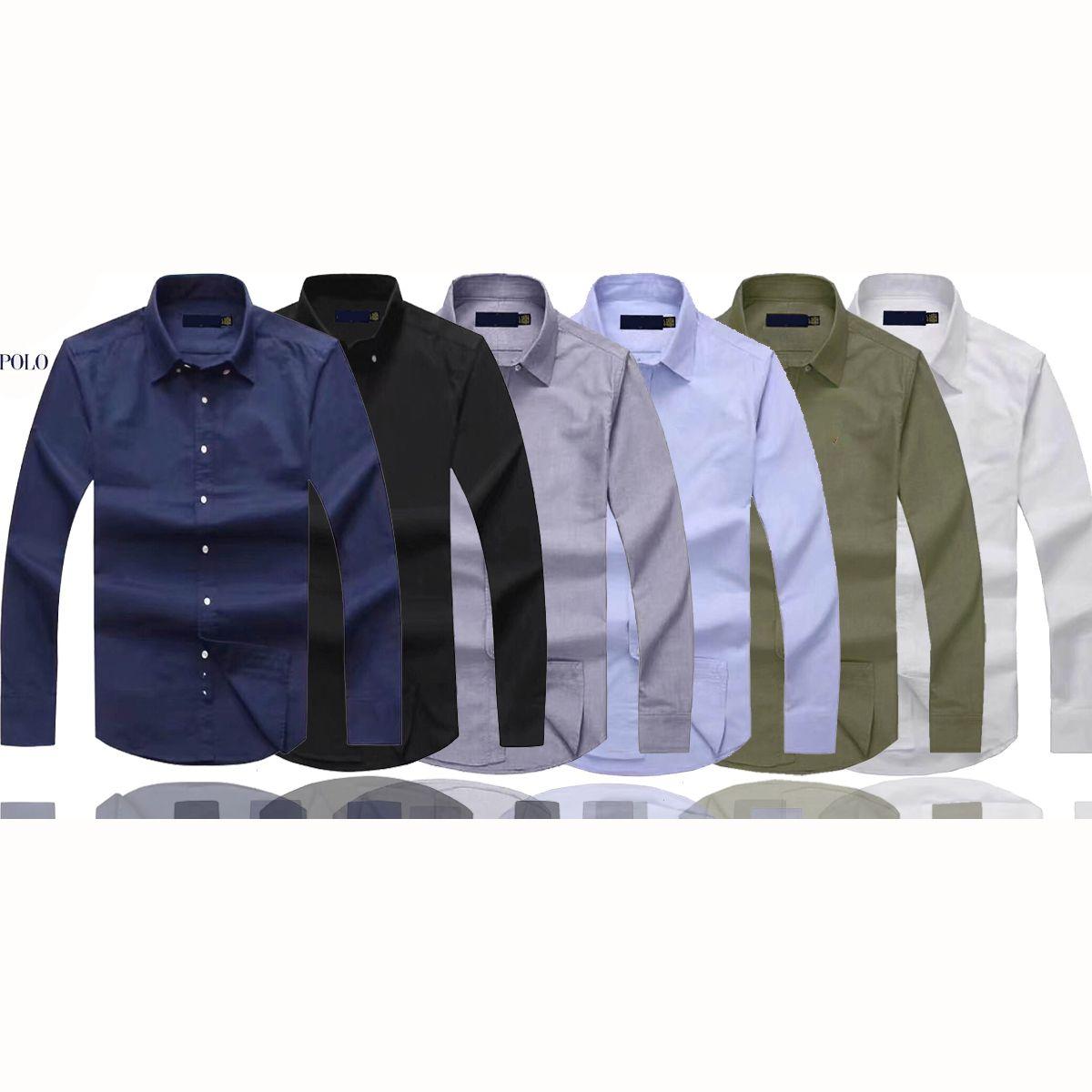 망 폴로 셔츠 긴 소매 캐주얼 솔리드 셔츠 아메리칸 스타일 폴로스 셔츠 패션 옥스포드 사회 셔츠 베스트