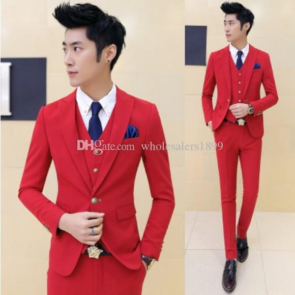 Neuer Stil eine Taste rote Bräutigam Smoking Spitze Revers Groomsmen Männer Hochzeitsanzüge Bräutigam (Jacke + Pants + Weste + Tie) NO: 100