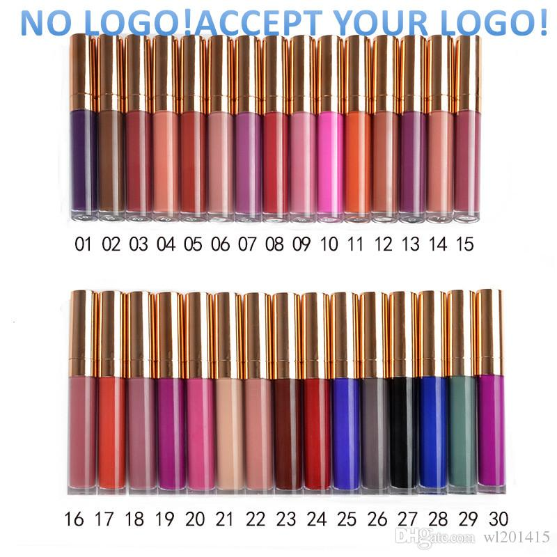 로고 없음! 40 색 벨벳 매트 립글로스 방수 립 글로즈 롱 지속 액체 립스틱 맞춤형 로고 수락