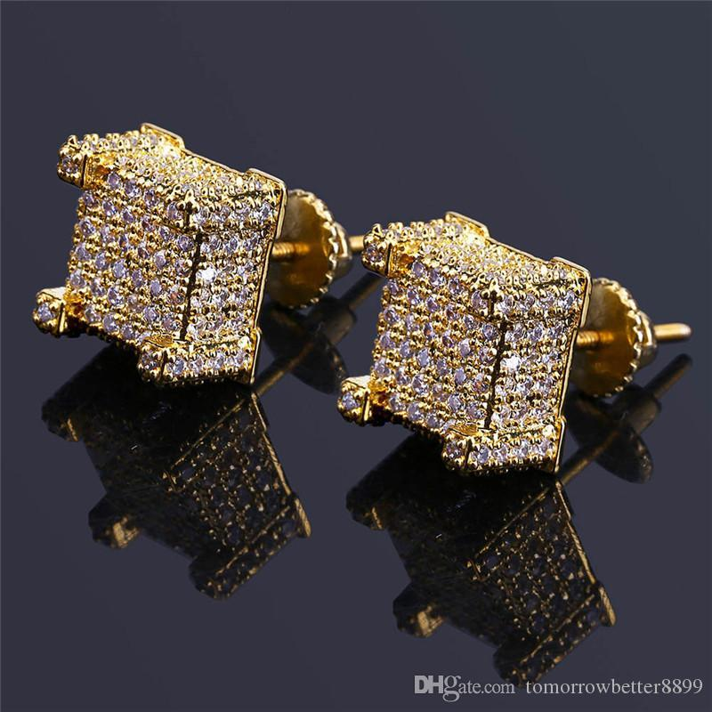 Мода винт обратно CZ серьги Stud Мужчины Марка Дизайнер Hiphop ювелирных изделий Золото Серебро Циркон проколол стержня уха Jewellry