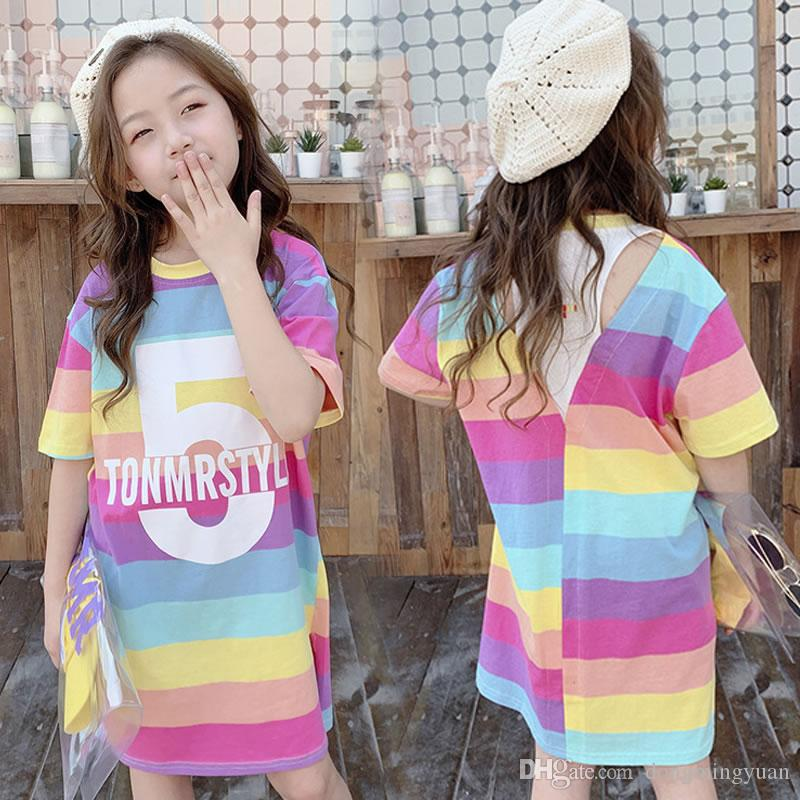 2019 Summer Big Girl Serape Rainbow Dresses Korean Children Striped Casual Beach Frock Kid Cotton Up Back To School Sundress Clothes From