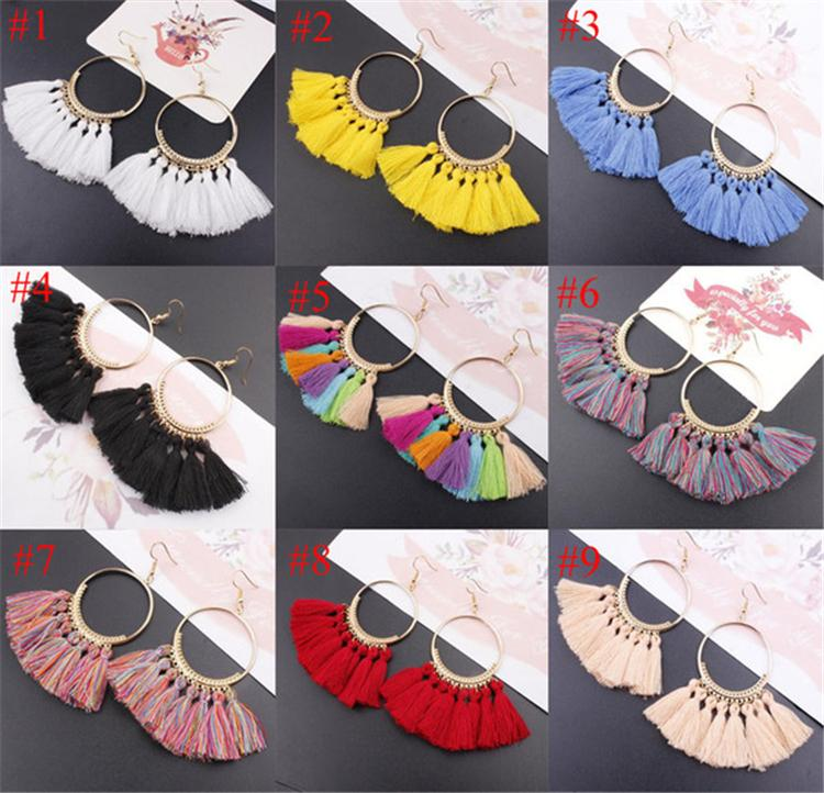 17 cores Womens Fashion Bohemian brincos longos Tassel Fringe Dangle Gancho Brinco Eardrop jóias étnicas presente MHN32
