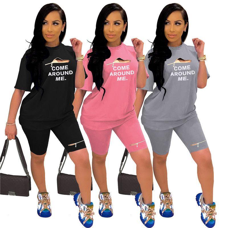 Женщины Zipper Шорты Tracksuit письмо Печать с коротким рукавом футболки Tops + шорты 2 шт Набор лето Женщины Мода Костюмы Спортивная одежда костюм 2020