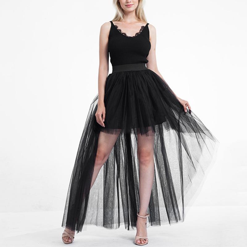 Seksi Kadınlar Yetişkin 3 Katmanlar Tül Siyah Kısa Ön Uzun Arka Etekler Yüksek Düşük Tutu Etek Bale Prenses İçin Parti Düğün Y200326