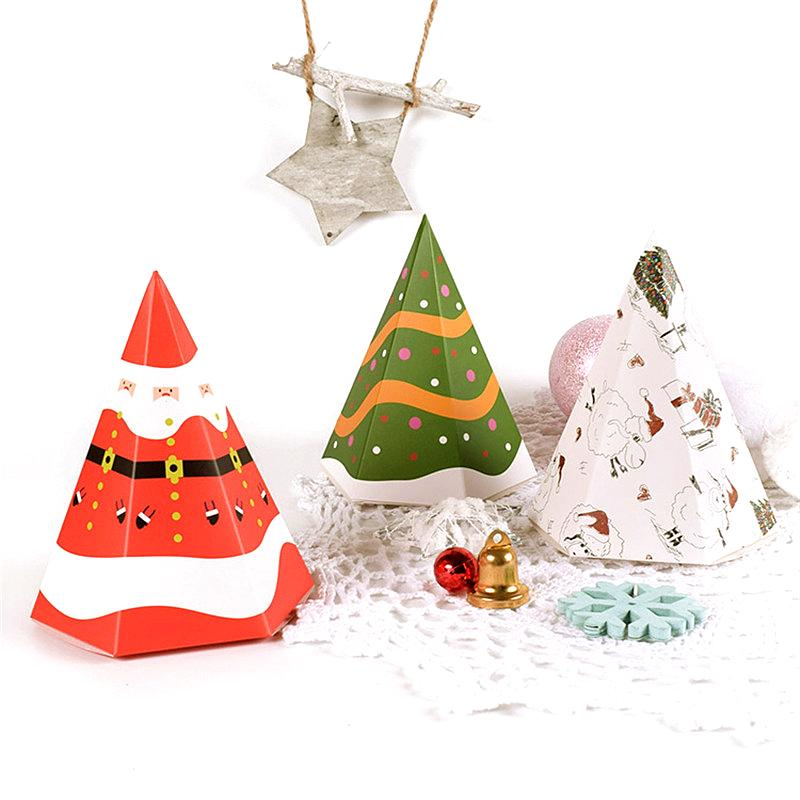 5Pc Christmas Decorations for Home Merry Christmas Gift Bags Gift Candy Box Creative Paper Box Container Supplies Navidad 2019,Q
