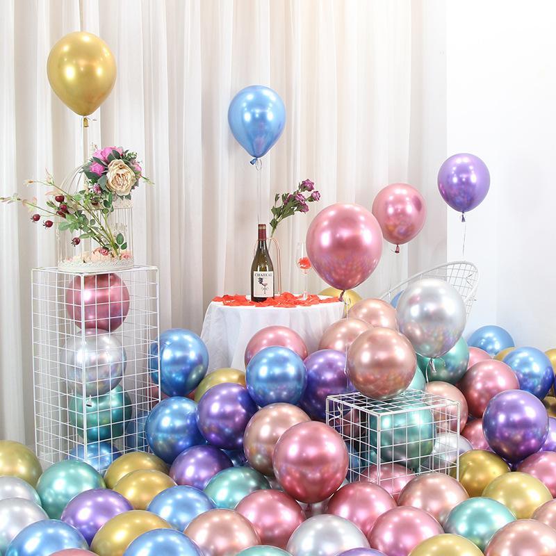 Stock 50pcs / lot 12inch Nouveau Pearl Métal brillant Latex Balloons épais Couleurs métalliques Chrome gonflable Air Balls Birthday Party Décor