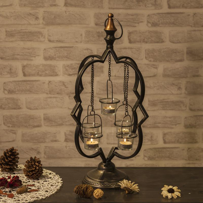 European style decorative candlestick dining room Candlestick home furnishing metal chain suspended wind lamp