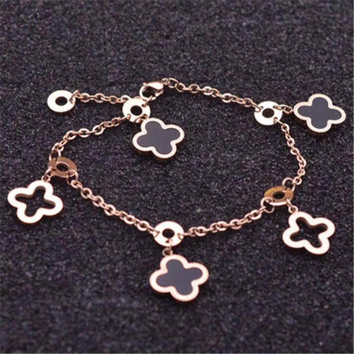 Nouvelle façon simple rose herbe chanceux couleur or en titane acier coeur dames bracelet papillon bijoux jour de valentine 19cm Bijoux cadeau fin