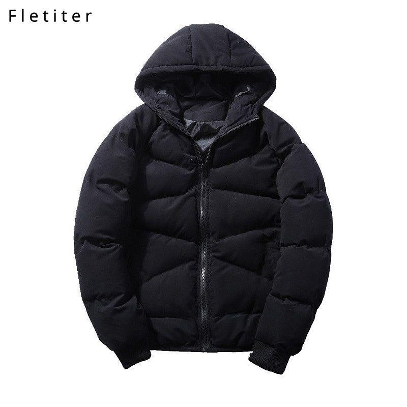 Fletiter Brand chaqueta gruesa para hombre Parka con capucha Nueva moda de alta calidad Negro Casual Coat Hombres a prueba de viento Invierno Gran tamaño M-5XL