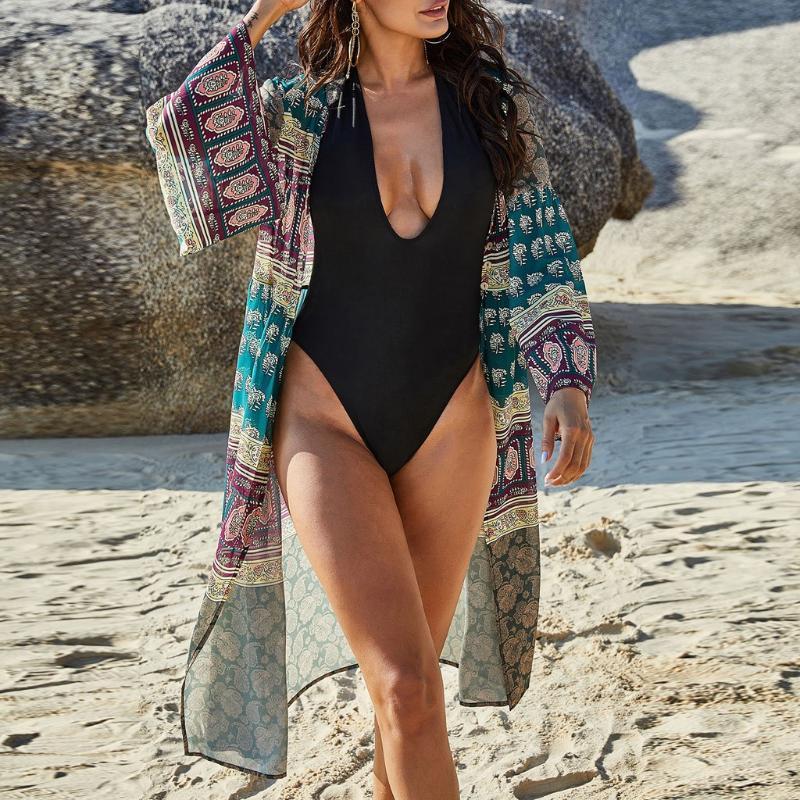 Cubiertas Mujeres Casa de Chiffon Vestido de playa Traje de baño Cardigan Traje de baño Bikini Traje de baño Cubre Kimono Pareo Robe de Plage Túnica 2021 # G4