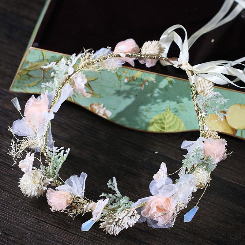 Nette Blumen-Girlande Perlen-Band Handmade Bride Hairband Stirnband Brautjungfer Hochzeit Kopfschmuck Haarschmuck Zubehör JL