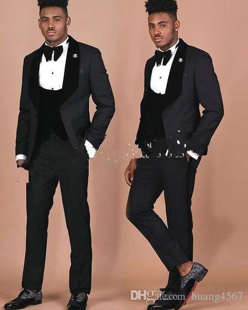 New Classic Style One Button Black Wedding Groom Tuxedos Shawl Lapel Groomsmen Men Suits Prom Blazer (Jacket+Pants+Vest+Tie) 210
