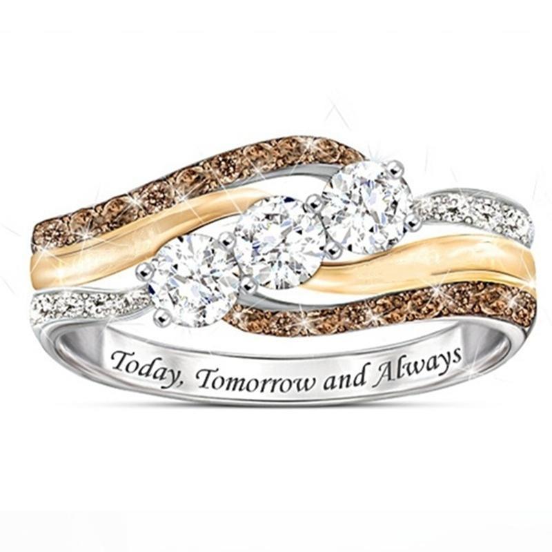 10 pcs Mode Strass vague anneau nouvelle bande de mariage diamant Bijoux Casual Accessoire Cadeau De Noël bagues de Fiançailles Pour Les Femmes
