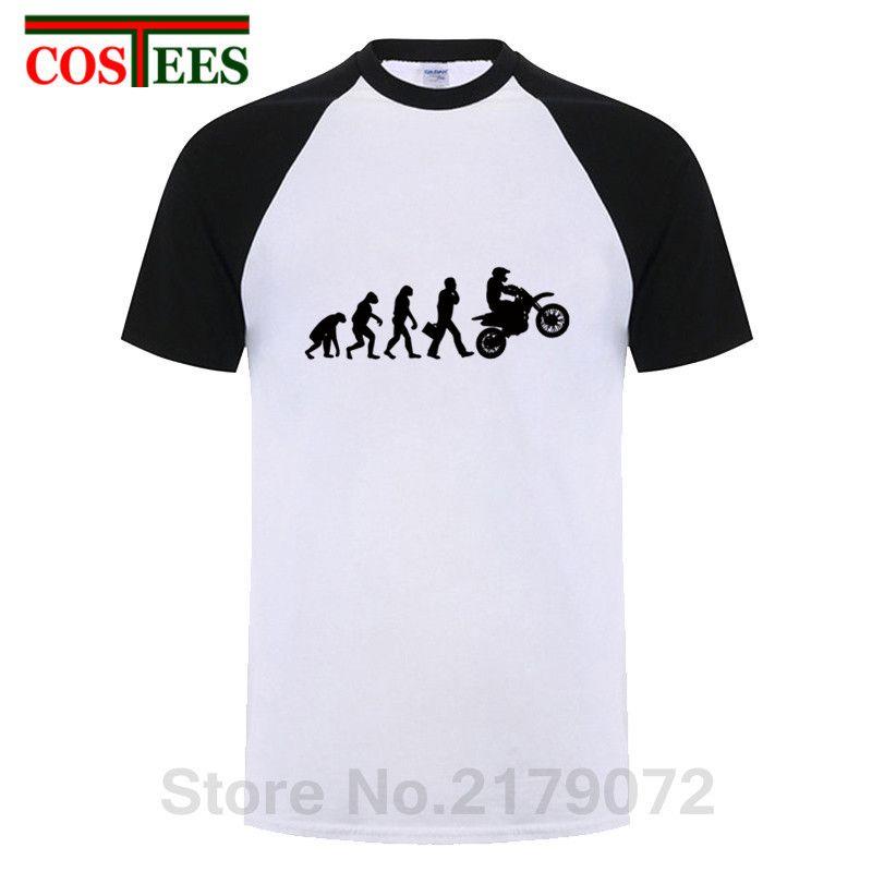 T-shirt da motocicletta Evolution uomo T-shirt da motociclista divertente Evolution Dirt Bike tshirt gioventù Motocicletta T-Shirt da uomo hombre
