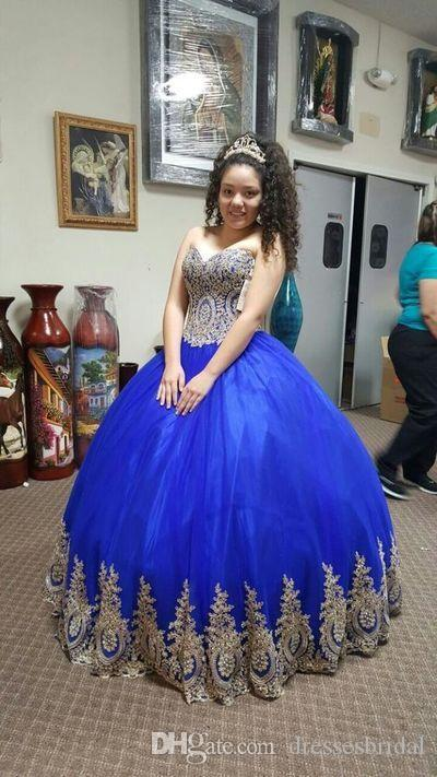 Blue Quinceanera Dresses Plus Size Sweet 16 Dresses Sweetheart Gold  Appliques Floor Length Puffy Tulle 15 Year Old Dress Lace Up Quinceanera  Dress ...