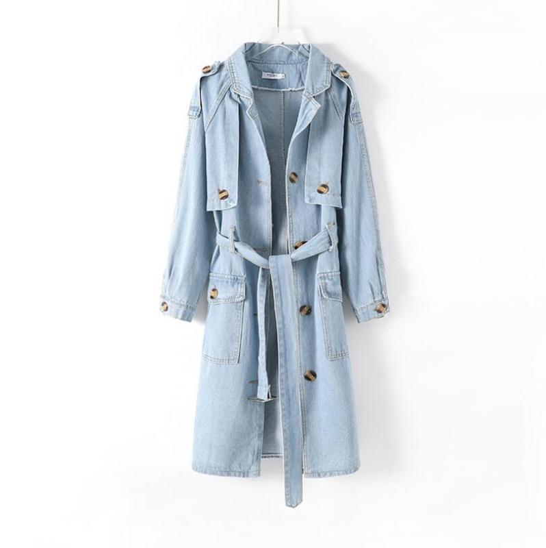 2020 coréenne long Denim Trench femmes avec ceinture High Street lâche Casual Jeans automne coupe-vent Manteaux P1232