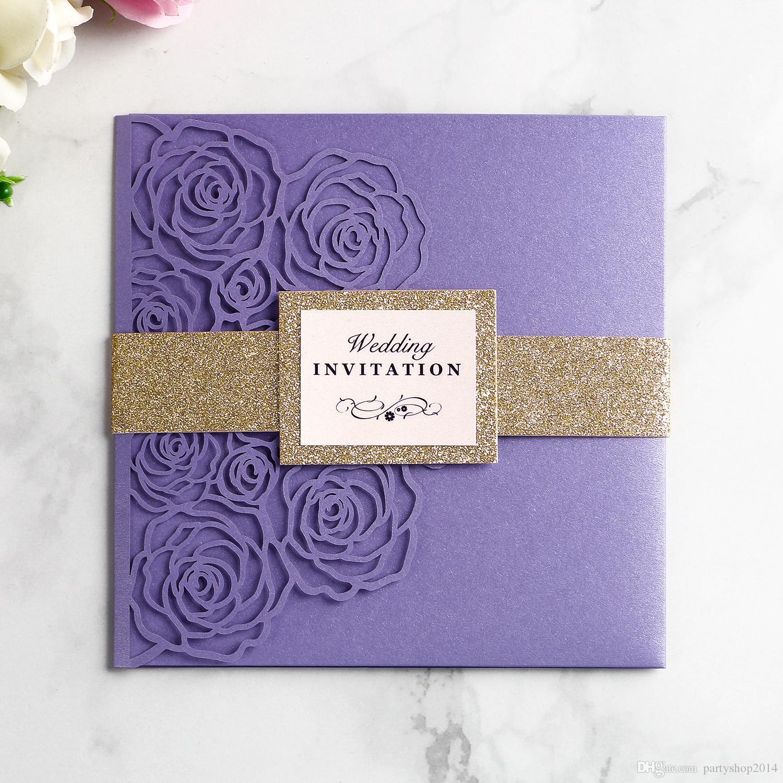 New 2019 Wedding Invitation Card Hollow Envelope Inner Page Invitations Pocket Girdle Square Laser Cut Invitations Cards V240 Sample Wedding