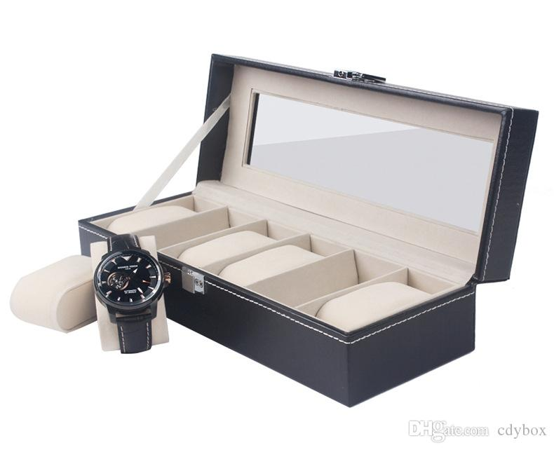 Leather 6 Slot Square Glass Topped Watch Box Luxury Black Storage Cases Jewelry Display Box Gift Case