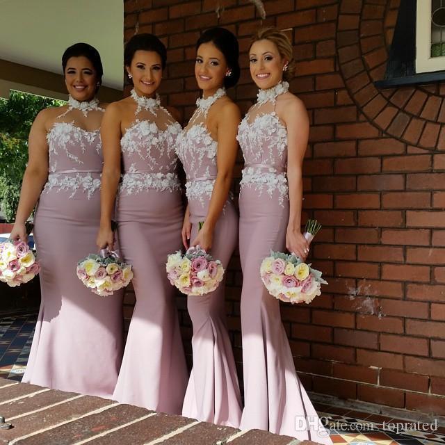 Festa de casamento Custom Made luz roxa vestidos de alta qualidade Applique corpete sereia Vestidos dama de honra do rosa com Caixilhos 2020