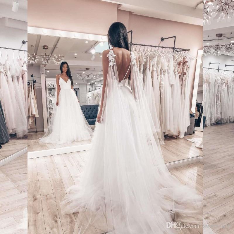 Элегантные Свадебные Платья 2020 Спагетти Спинки Линии Свадебное Платье Сад Vestidoe De Noiva Beach Плюс Размер