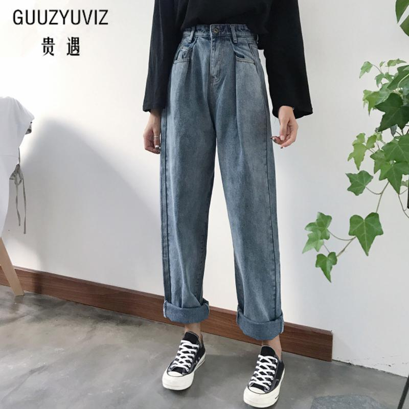 GUUZYUVIZ Loose Vintage Woman Jeans 2017 Autumn Bleached Casual Boyfriend Curl Denim Wide Leg Pants Oversize High Waist Jean LY191116