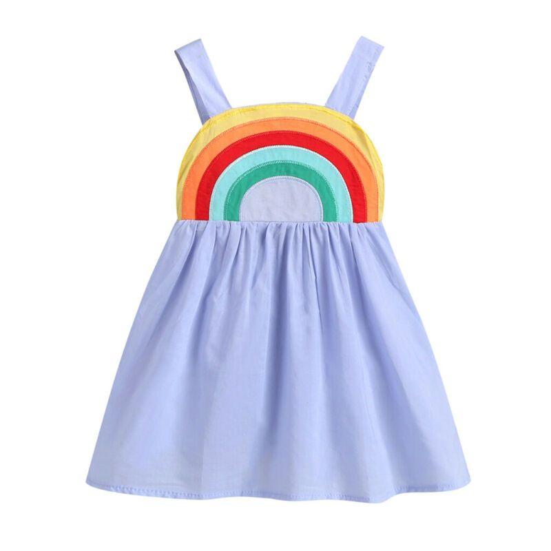 1-5Y طفل جديد طفلة الصيف قوس قزح الرافعة اللباس الأميرة حزب فستان الشمس تتسابق الطفل