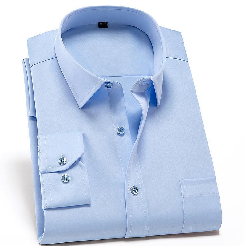 Anti-wrinkle Stretch Mens Shirts Casual Slim Fit Work Men Shirt Long Sleeve Cheap China Imported Men Clothing Mens Dress Shirts