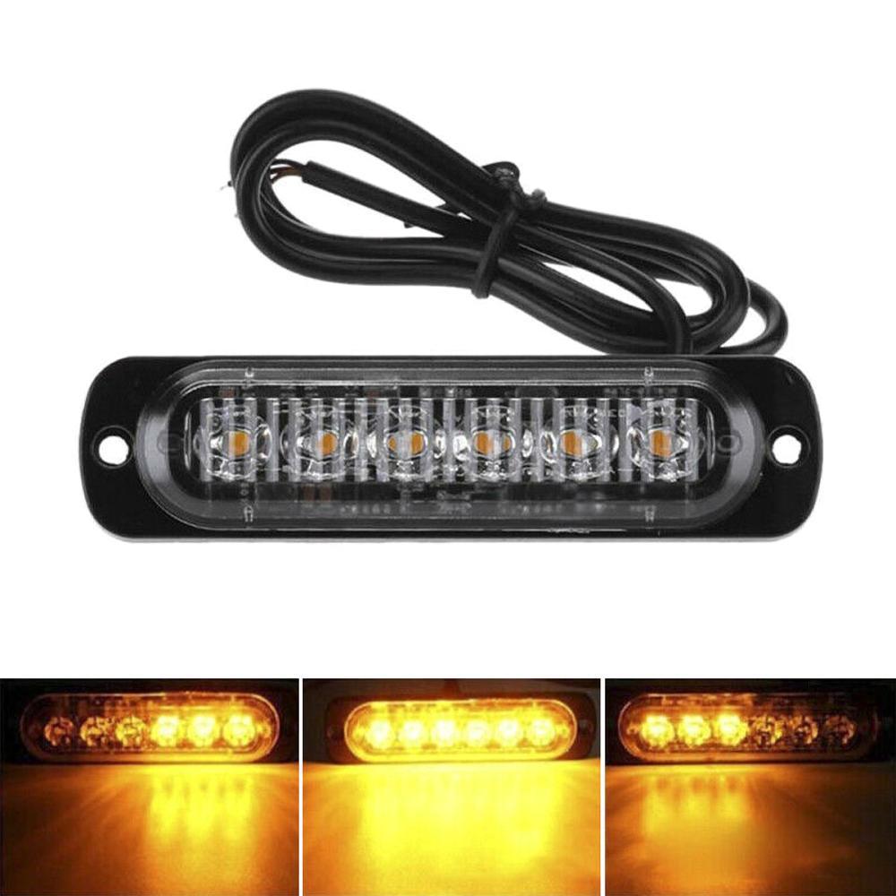 6 LED Dash Strobe emergenza lampeggiante Spia per camion dell'automobile della luce gialla