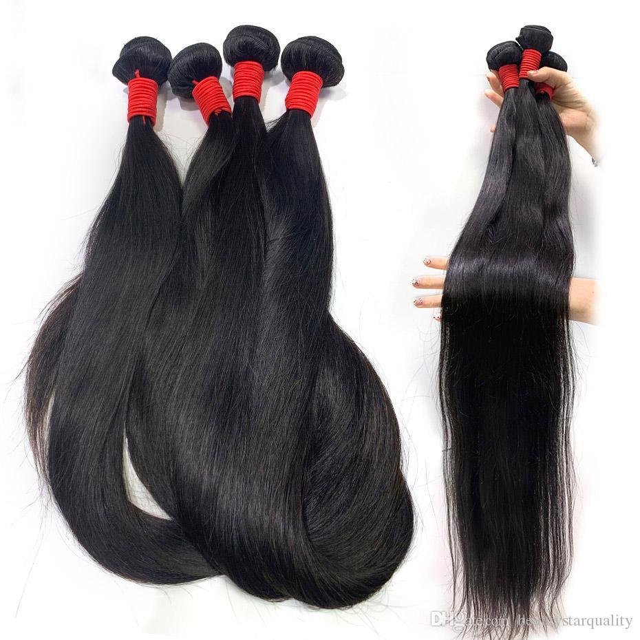 BeautyStarQuality lunghe estensioni dei capelli umani indiani prime vergini Onda diritta 36 38 40 pollici greggio vergine dei capelli tessuto remy