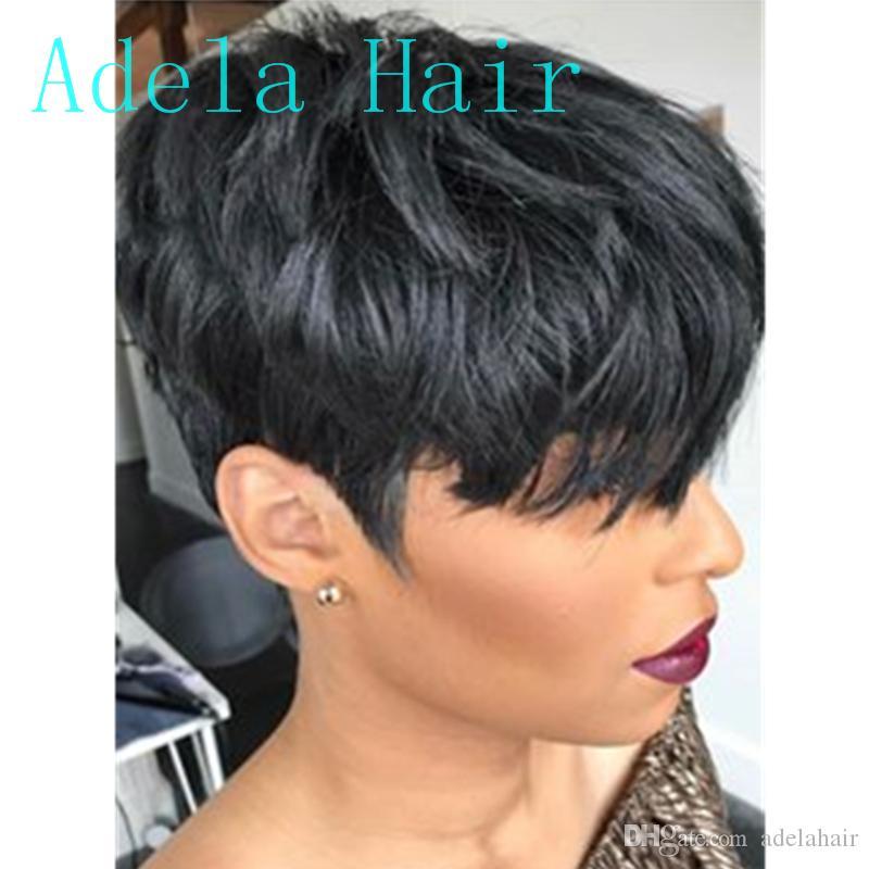 100% человеческих волос короткие прямые кружева прямые парики для чернокожих женщин Pixie парик машина сделала короткий парик