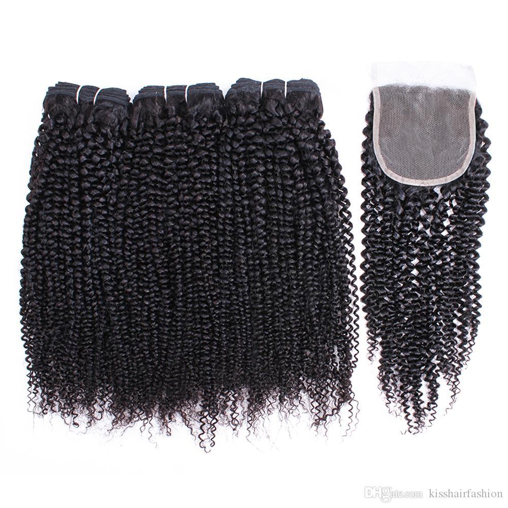 Kisshair Afro Kinky 곱슬 인간의 머리카락 3 번들 4 * 4 레이스 폐쇄 자연 색상 브라질 페루 인도 버진 인간의 머리카락 확장