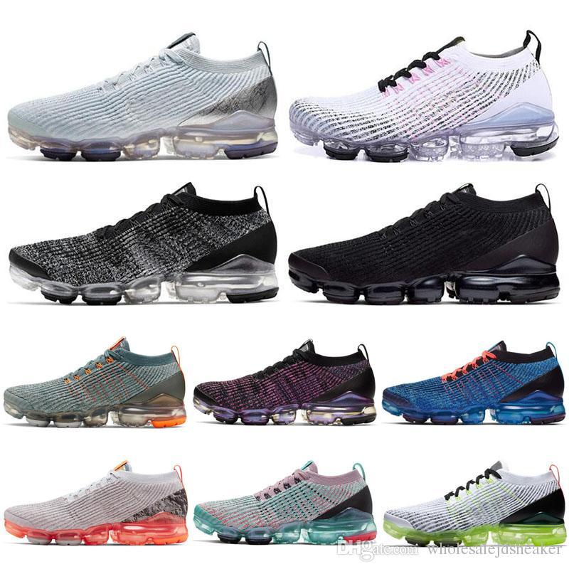 Compre Nike Air Vapormax Flyknit 3 Venta Al Por Mayor Hombres Mujeres  Zapatos Corrientes Platino Knit 3s Hombres Zapatillas De Deporte Para  Correr ...